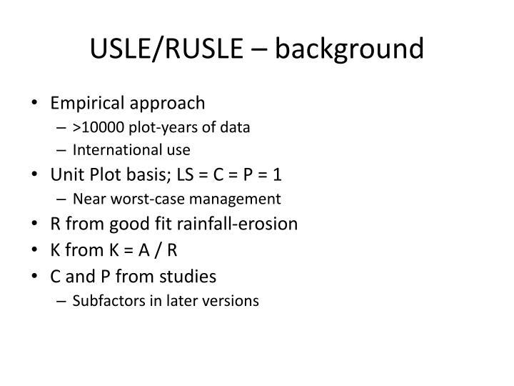 USLE/RUSLE – background