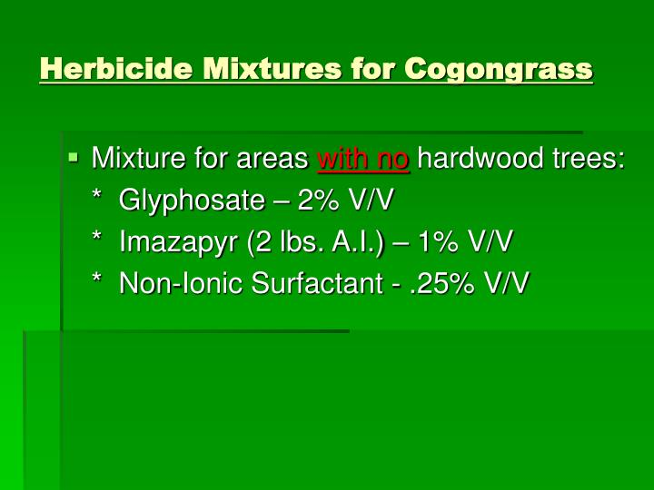 Herbicide Mixtures for Cogongrass