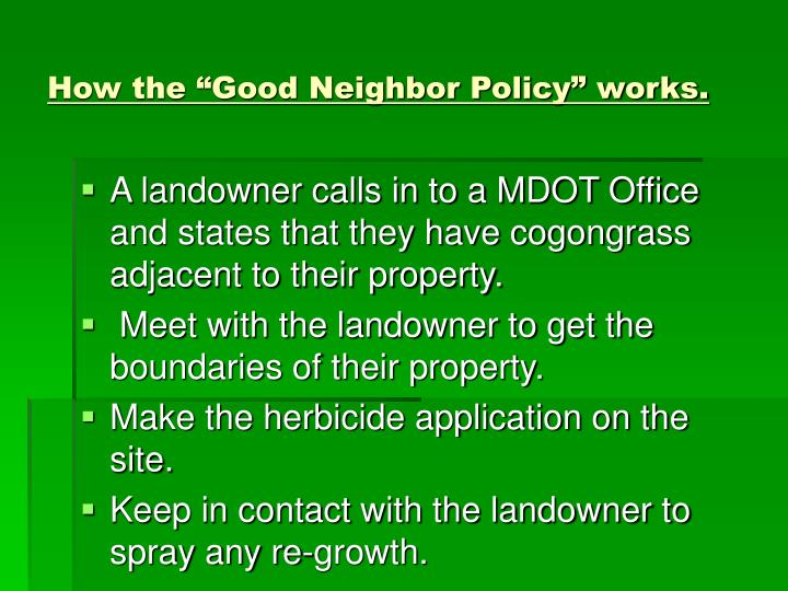 "How the ""Good Neighbor Policy"" works."