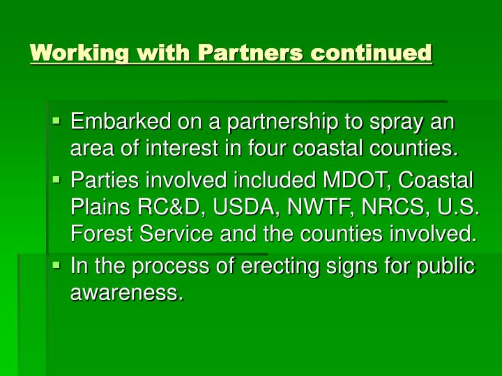 Working with Partners continued