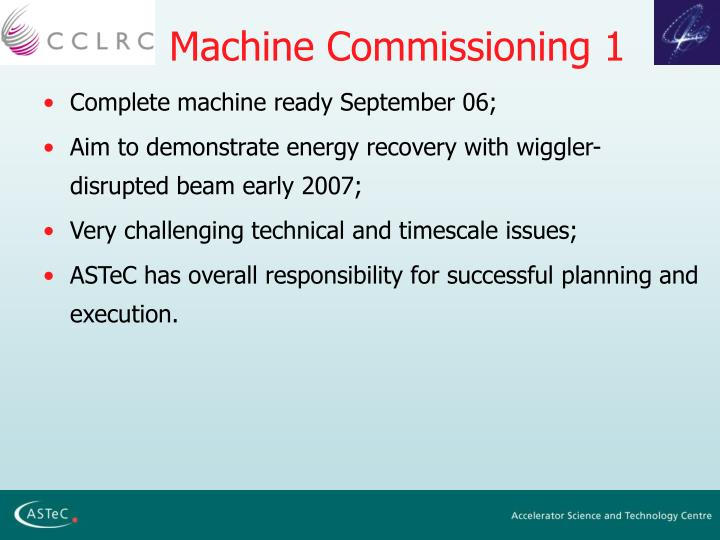 Machine Commissioning 1