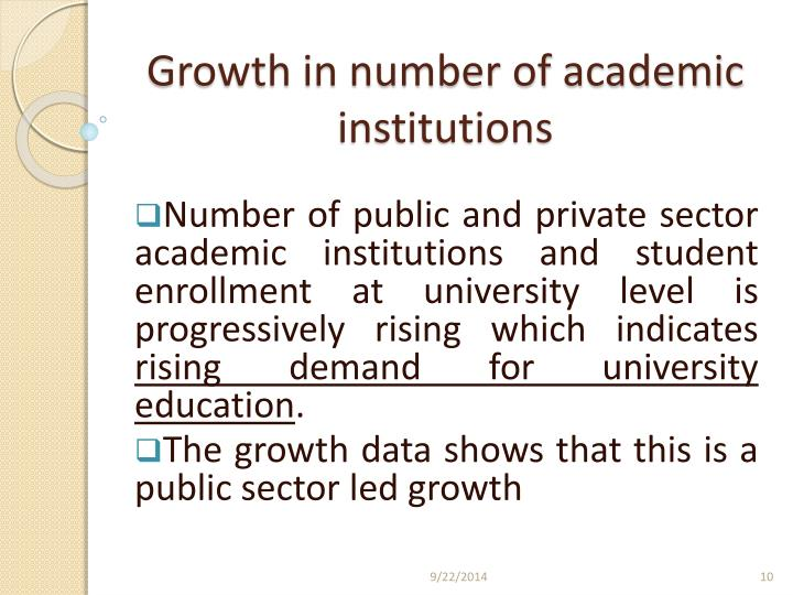 Growth in number of academic institutions