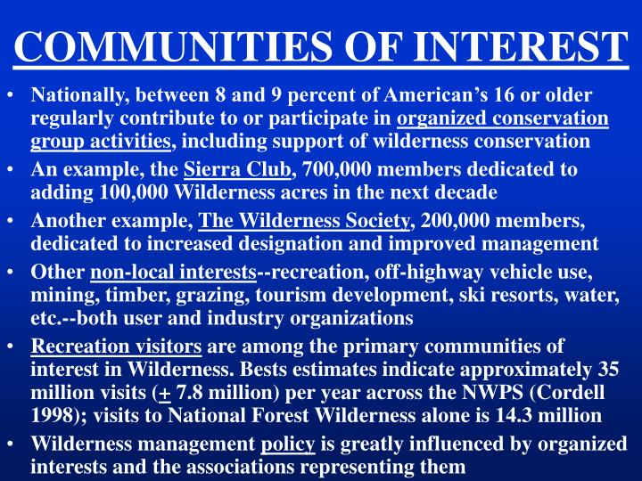COMMUNITIES OF INTEREST