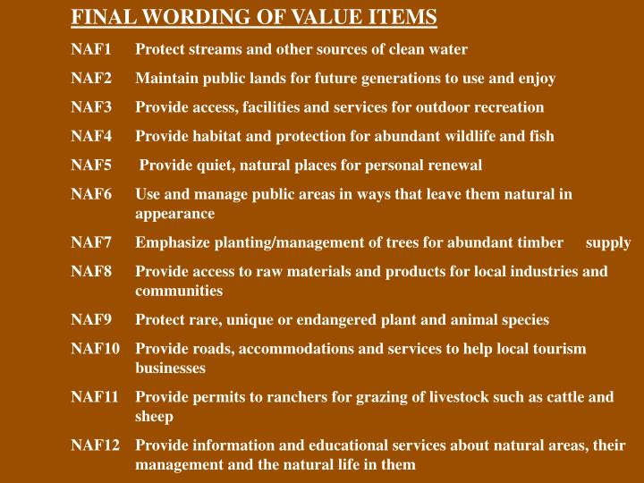 FINAL WORDING OF VALUE ITEMS