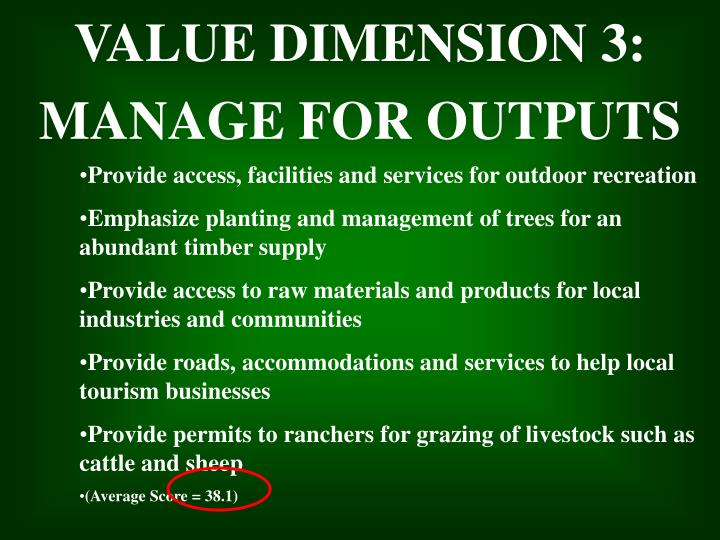 VALUE DIMENSION 3: