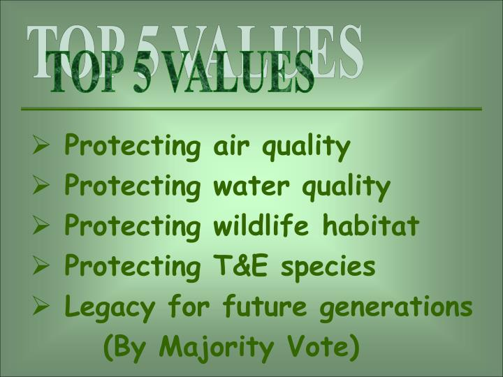 TOP 5 VALUES