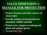 value dimension 1 manage for protection
