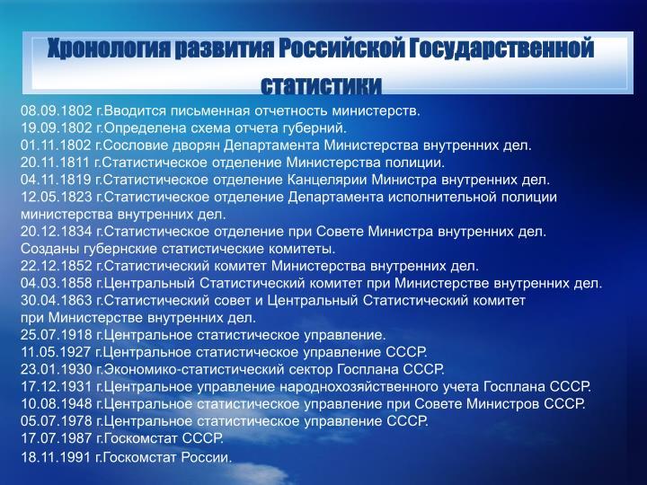 Хронология развития Российской Государственной статистики