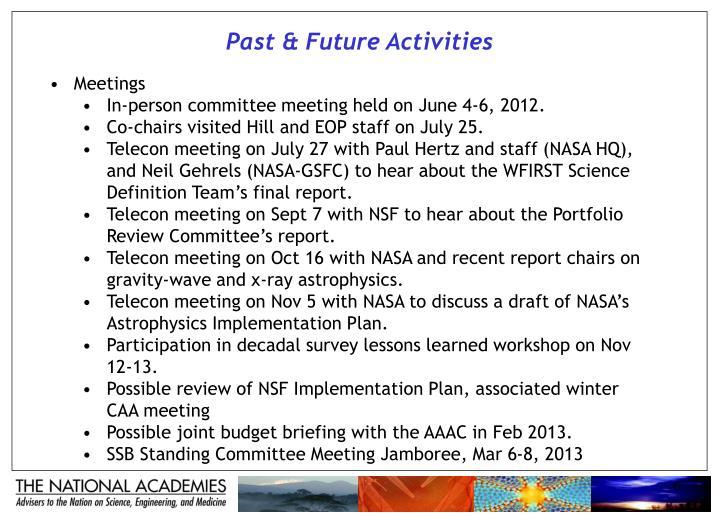 Past & Future Activities