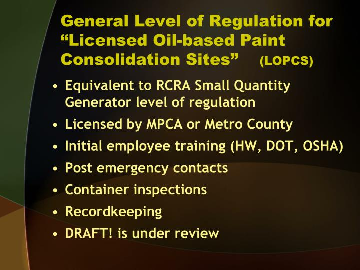 General Level of Regulation for