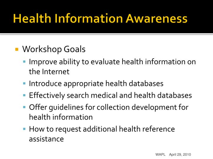 Health Information Awareness
