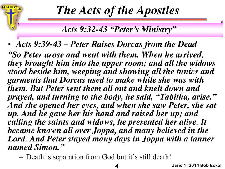 Acts 9:39-43 – Peter Raises
