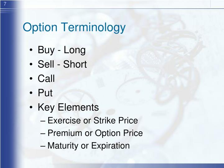 Option Terminology