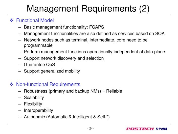 Management Requirements (2)
