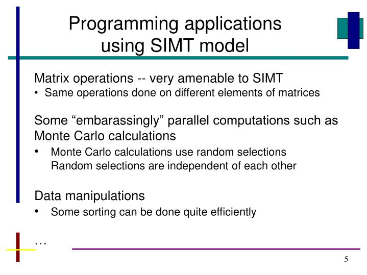 Programming applications using SIMT model