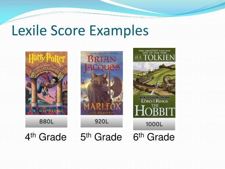 Lexile Score Examples