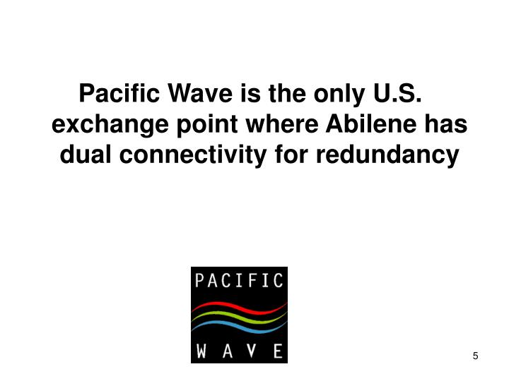 Pacific Wave is the only U.S. exchange point where Abilene has