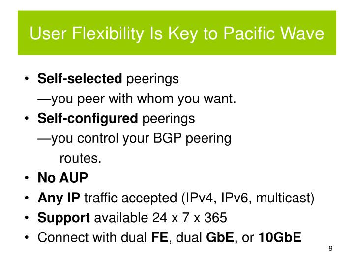 User Flexibility Is Key to Pacific Wave