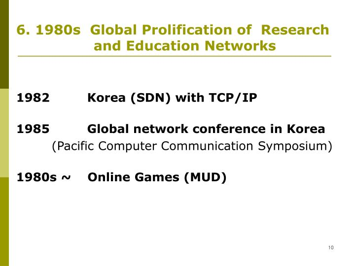 6. 1980s  Global Prolification of  Research