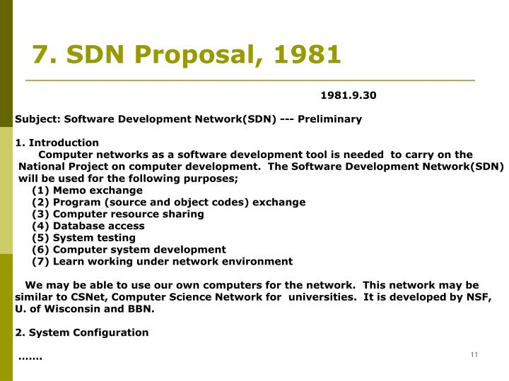 7. SDN Proposal, 1981