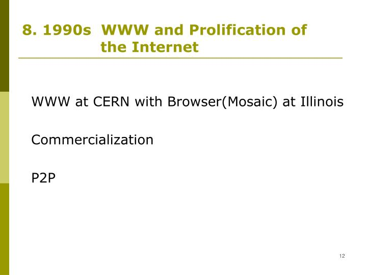 8. 1990s  WWW and Prolification of