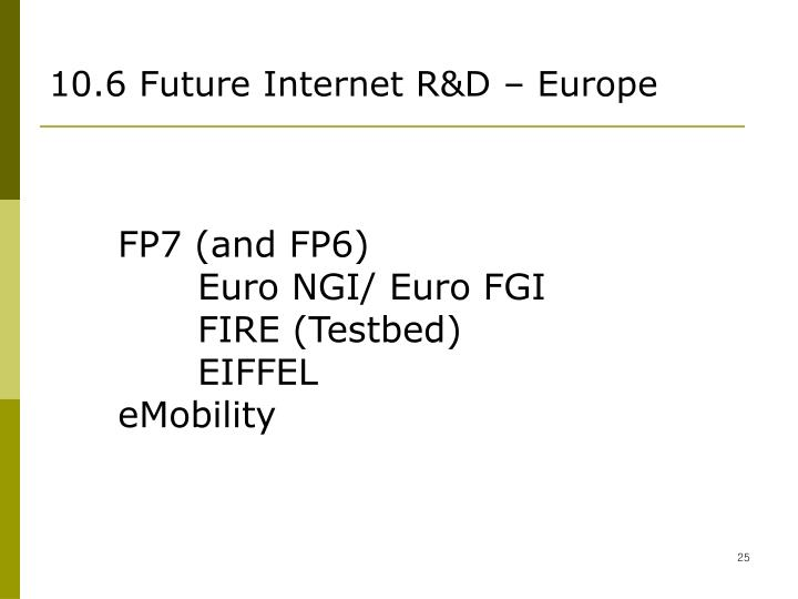10.6 Future Internet R&D – Europe