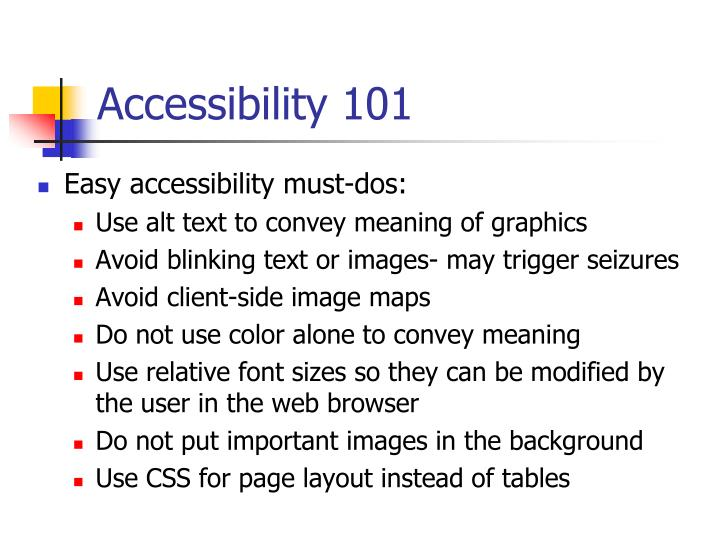 Accessibility 101