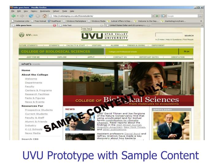 UVU Prototype with Sample Content