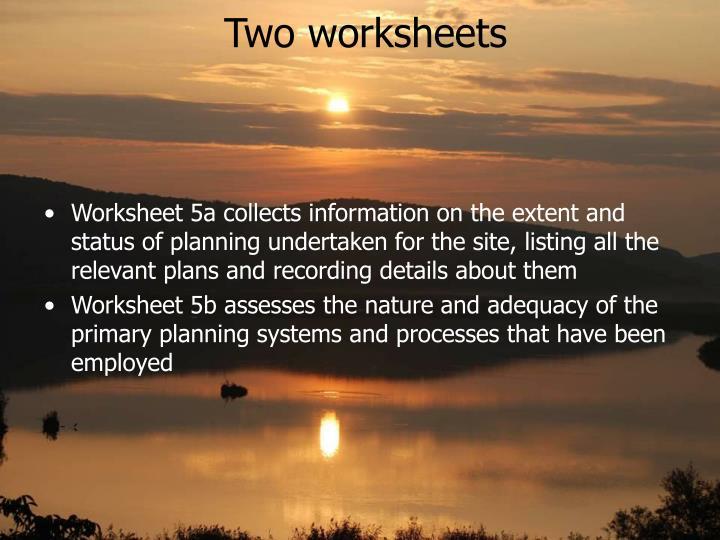 Two worksheets