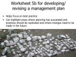 worksheet 5b for developing revising a management plan