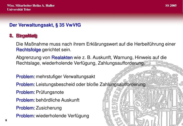 Der Verwaltungsakt, §35 VwVfG