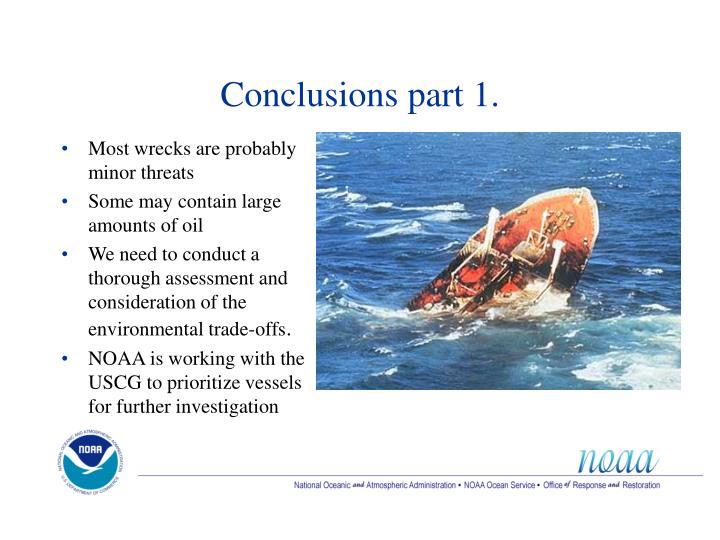 Conclusions part 1.