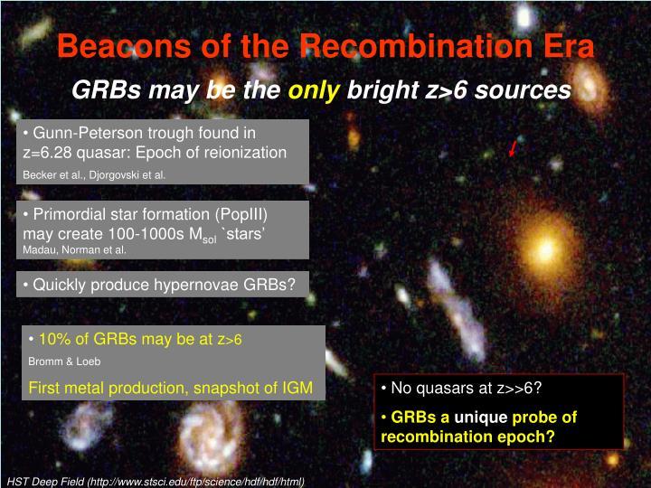 Beacons of the Recombination Era