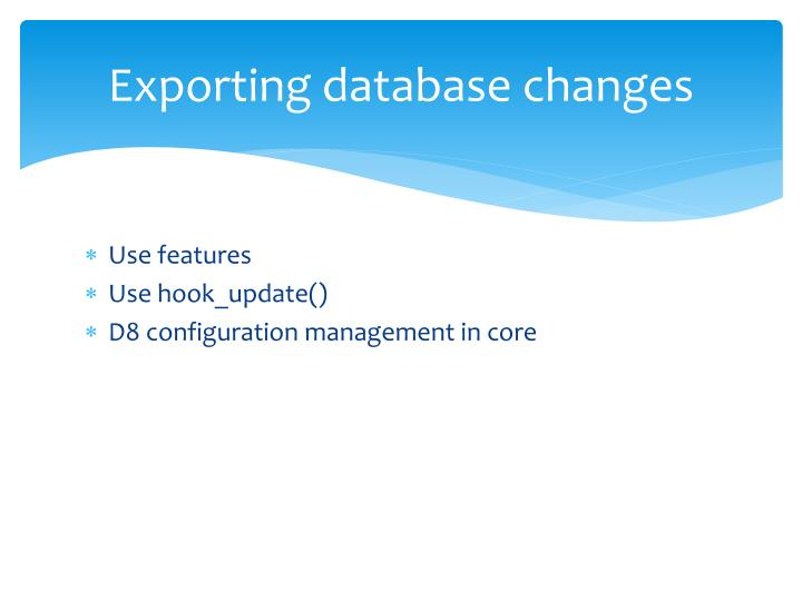 Exporting database changes