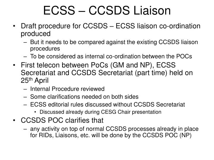 ECSS – CCSDS Liaison