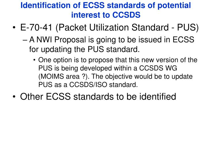 Identification of ECSS standards of potential interest to CCSDS