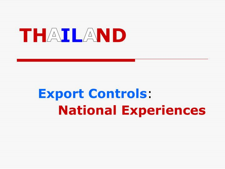 Export controls national experiences
