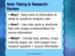 note taking research review