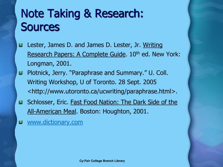 Note Taking & Research: