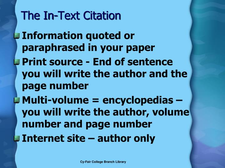 The In-Text Citation