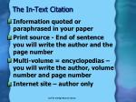 the in text citation