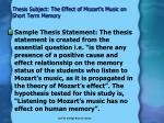 thesis subject the effect of mozart s music on short term memory