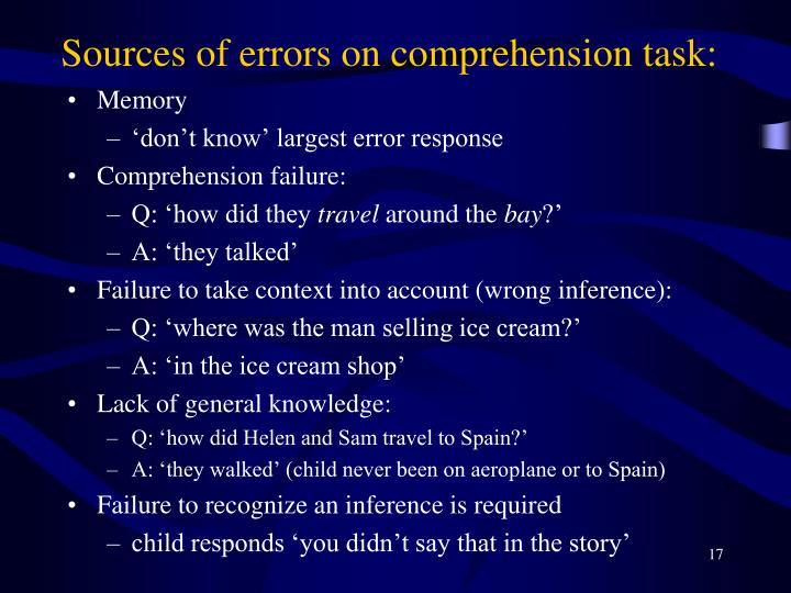 Sources of errors on comprehension task: