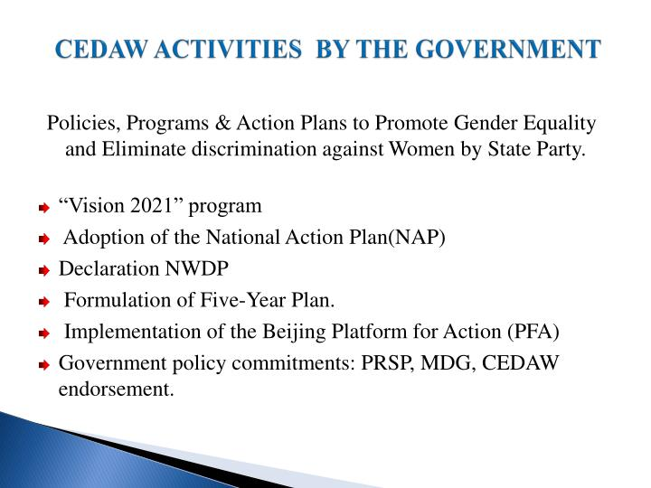 CEDAW ACTIVITIES  BY THE GOVERNMENT