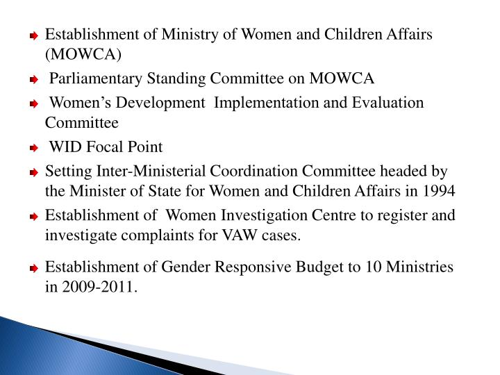 Establishment of Ministry of Women and Children Affairs (MOWCA)