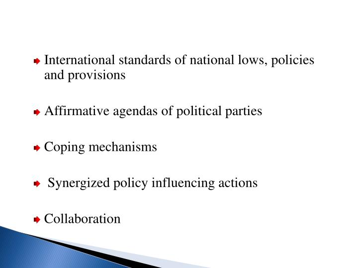 International standards of national lows, policies and provisions