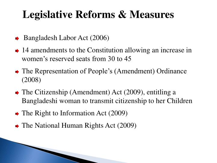 Legislative Reforms & Measures
