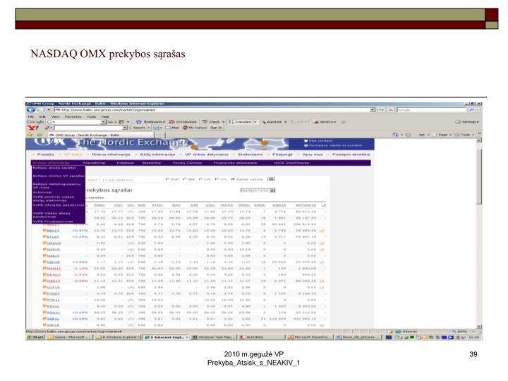 NASDAQ OMX prekybos sąrašas