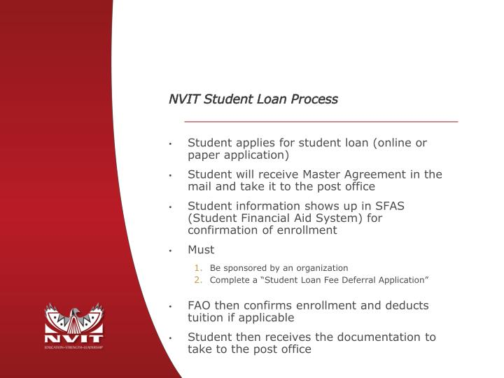 NVIT Student Loan Process
