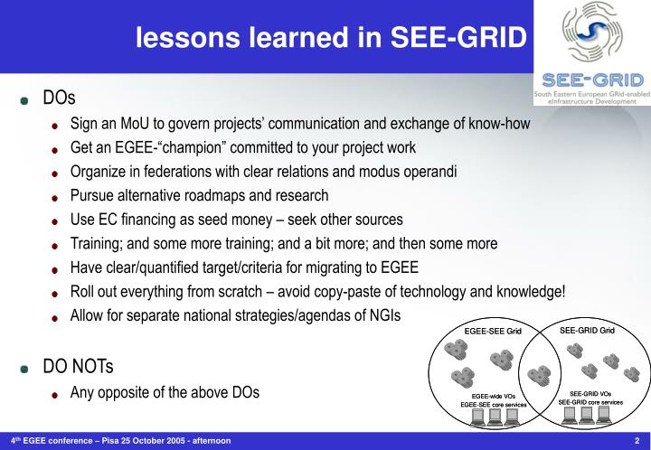 Lessons learned in see grid